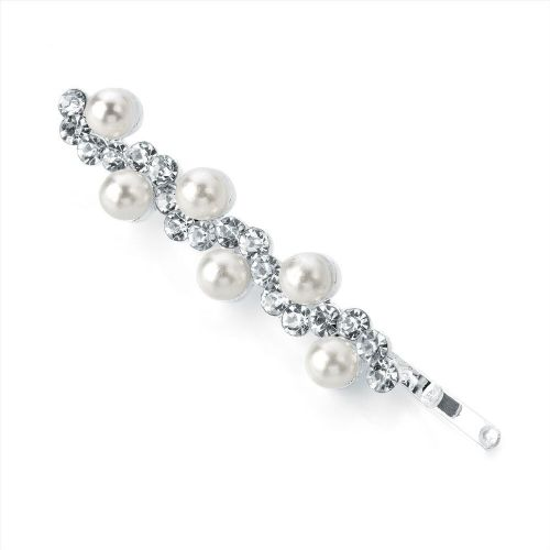 Pearl Bead and Crystal Wave Design Hair Grip Slide